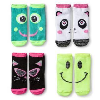 Xhilaration Girls Animal Faces No Show Socks 4pk   Cloud 3 10