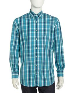 Long Sleeve Plaid Poplin Sport Shirt, Weekend Multi
