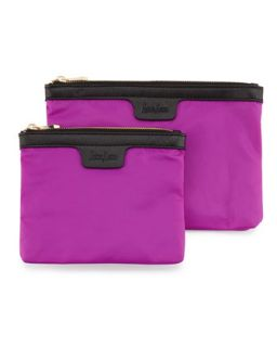 Two Piece Saffiano Trim Nylon Cosmetic Bag Boxed Set, Orchid