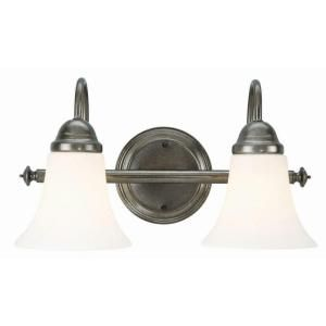 Design House Cabriolet 2 Light Rustic Pewter Wall Mount Light Fixture 510628