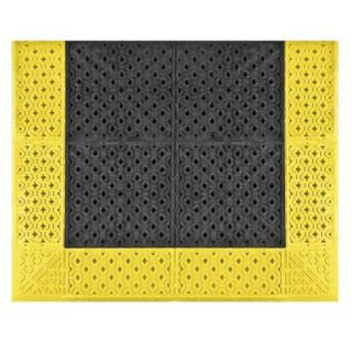 NoTrax Cushion Lok Black with Yellow Safety Border 30 in. x 36 in. PVC Anti Fatigue/Safety Mat 520
