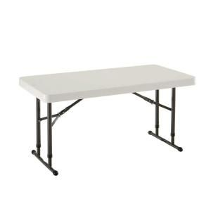 Lifetime 24 in. x 48 in. Almond Adjustable Height Commercial Folding Table 80161