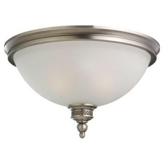Sea Gull Lighting Laurel Leaf 2 Light Antique Brushed Nickel Flush Mount Fixture 75350 965