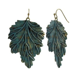 MIXIT Gold Tone Patina Leaf Drop Earrings, Blue