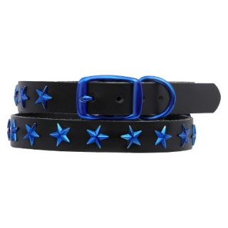 Platinum Pets Black Genuine Leather Dog Collar with Stars   Blue (9.5   12.5)