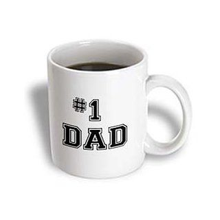 3dRose No.1 Dad, Greatest Dad, Black Text, Fathers Day, Best Dad Award, Ceramic Mug, 11 Oz Kitchen & Dining