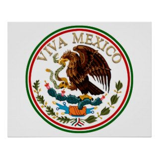 Viva Mexico Mexican Flag Icon w/ Gold Text Print