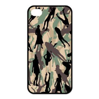 Unique pattern smart cool lady camouflage painting style, perfect smooth cutting, sense of fashion design (black edge) for iphone 4/4s case Cell Phones & Accessories