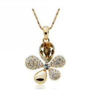 Wiipu Factory direct sale gold coffee necklace, hot sell flower crystal necklace (C1670) Y Shaped Necklaces Jewelry