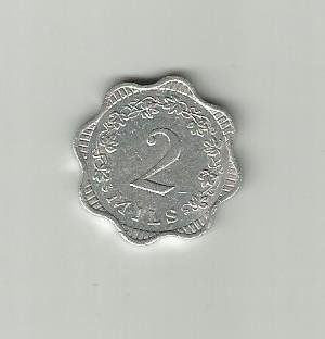 MALTA ALUMINMUM COIN 1972WITH CROSS2 MILSVERY GOOD CONDITION