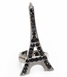 Black Eiffel Tower Stretch Ring Crystal Long BQ Burnish Silver Tone Travel Trip Jewelry