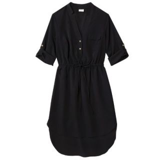 Merona Womens Drawstring Shirt Dress   Black   XXL