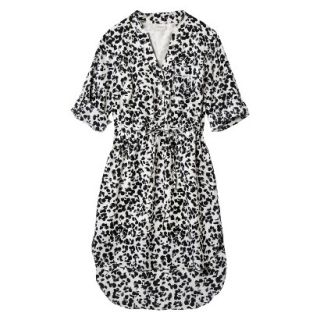 Merona Womens Drawstring Shirt Dress   Animal Print   L