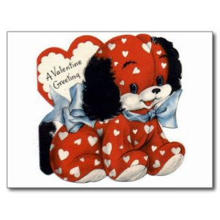 Retro Valentines Day Puppy Postcards