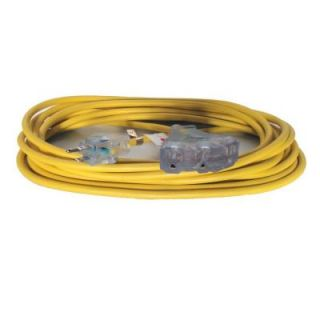 GenTran 25 ft. 14/3 Yellow Triple Tap Cord with Standard 15 Amp 3 Prong Plug and Three 3 Prong 15 Amp Receptacles RJB14325YL