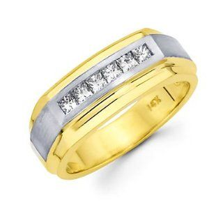 Princess Cut Channel Set 14k Two Tone Gold Mens Diamond Wedding Ring Band .46 ct (G H, I1) Sonia Jewels Jewelry