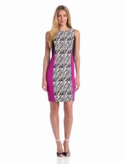 Julian Taylor Women's Colorblock Zebra Print Dress, Cream/Black, 10 Missy