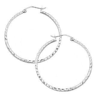 14K White Gold High Polish Finish 1.5mm Thickness & 35mm Diameter Square Tube Diamond cut Hoop Earrings Jewelry