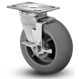 "Albion 16 Series 6"" Diameter X tra Soft Round Tread Wheel Medium Heavy Duty Zinc Plate Swivel Caster with Face Brake, Roller Bearing, 4 1/2"" Length X 4"" Width Plate, 600 lbs Capacity (Pack of 4)"