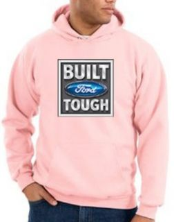 Built Ford Tough Mens Hoodie Sweatshirt   Pink Clothing