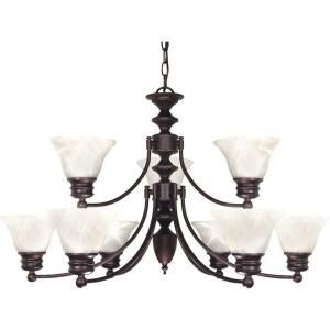 Glomar Empire 9 Light Old Bronze 2 Tier Chandelier with Alabaster Glass Bell Shades HD 362