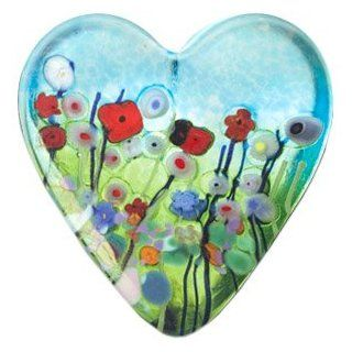 Mouth blown Meadow Heart Paperweight   Paper Weights