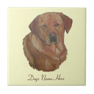 golden labrador retrieve dog portrait art tile