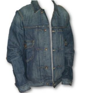 Lucky Brand Men's Industrial Denim Trucker Style Jacket, Distressed Blue Denim, Large at  Men�s Clothing store