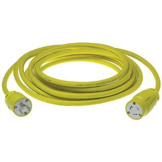 Woodhead 2647B123 Super Safeway Cordset, Industrial Duty, Locking Blade, 2 Poles, 3 Wires, NEMA L5 20 Configuration, 12 Gauge SOOW Cord, Rubber, Yellow, 20A Current, 125V Voltage, 50ft Cord Length Electric Plugs