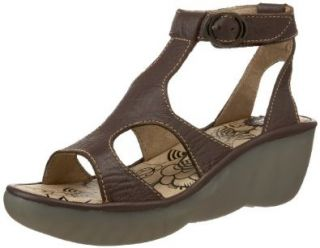 Fly London Women's Becca Ankle Strap Sandal, Dark Brown Pitti, 36 EU/5 M US Shoes