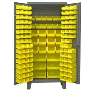 "Durham Extra Heavy Duty Welded 12 Gauge Steel Cabinet With 128 Bins, HDC36 126 95, 24"" Length x 36"" Width x 78"" Height Science Lab Safety Storage Cabinets"