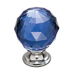 "Top Knobs TK124PCPC PC Polished Chrome Cabinet Hardware 1 3/8"" Blue Crystal Cabinet Knob With Polished Chrome Base   Cabinet And Furniture Knobs"