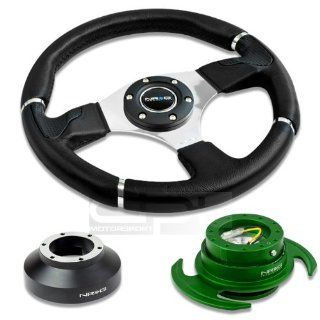 "NRG Innovations 13.78"" 350mm Black Leather Racing Steering Wheel Combo with 6 Hole Short Hub Adapter with Gen 3.0 with Handle Green Quick Release Kit SRK 131H Automotive"