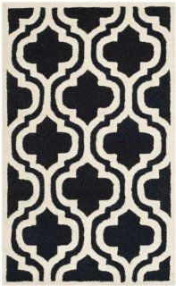 Safavieh Cambridge Collection CAM132E Handmade Wool Area Rug, 3 by 5 Feet, Black and Ivory