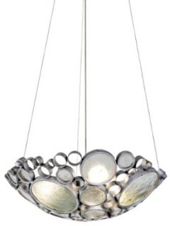 Varaluz 165P03NV Fascination Collection 3 Light Pendant, Nevada Finish with Recycled Green Bottle Glass, 20 Inch by 6 Inch   Ceiling Pendant Fixtures