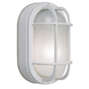 Hampton Bay Wall Mount Outdoor White Oval Bulkhead Light HB8822P 06
