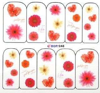 Egoodforyou BLE Water Slide Water Transfer Nail Tattoo Nail Decal Sticker Oil Portray (Just For You, I Do, Wedding Heart Bow and Sunflowers) with one packaged nail art flower sticker bonus  Beauty