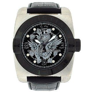 Christian Audigier Castle Garden Gents Genuine Black Leather Dress Watch FOR 207 at  Men's Watch store.