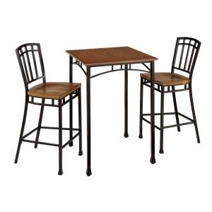 Home Styles Modern Craftsman Wood and Metal Bistro Table and Stool Set (3 Piece) 5050 359