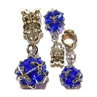 Blue Crystal Ball Charm (Quantity of One) Fits Euro Style Bracelets   Major Brand Compatible Bead Charm Jewelry