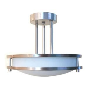 HomeSelects Saturn 2 Light Brushed Nickel Semi Flush Mount 6103