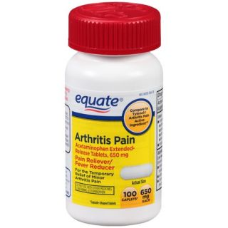 Equate Arthritis Pain Acetaminophen Extended Release Pain Reliever/Fever Reducer Caplets, 650mg, 100 count Medicine Cabinet
