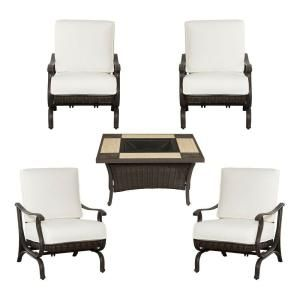 Hampton Bay Pembrey 5 Piece Patio Fire Pit Set with Bare Cushions HD14212