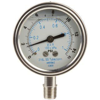 "PIC Gauge 301LFW 254A Glycerin Filled Bottom Mount Pressure Gauge with Stainless Steel Case, 316 Stainless Steel Internals, Plastic Lens, Welded Connection, 2 1/2"" Dial Size, 1/4""Male NPT Connection Size, 30"" 0 hg Vac psi Range Industrial P"