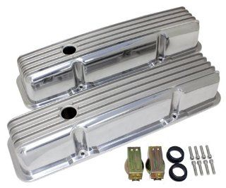 1958 86 Chevy Small Block 283 305 327 350 400 Tall Polished Aluminum Valve Covers   Full Finned Automotive