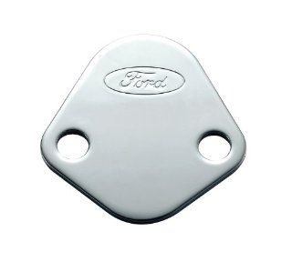 Proform 302 290 Chrome Fuel Pump Block Off Plate with Embossed Ford Logo for Ford 289 351 Windsor/352 428 FE Series/429/460 Automotive