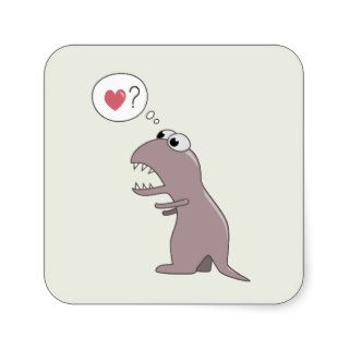 Cute Cartoon Dinosaur In Love Square Stickers
