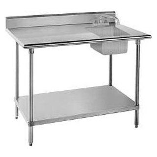 "Sink on Right 16 Gauge Advance Tabco KMS 11B 306 Stainless Steel Work Table with Sink 30"" x 72""  Utility Tables"