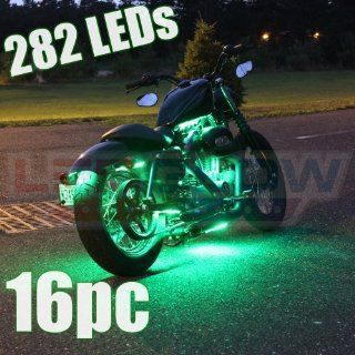 16 Piece 282 LED Green Motorcycle Lighting Kit Automotive