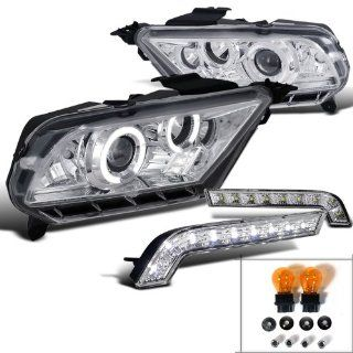 Ford Mustang Chrome Halo LED Projector Headlights+SMD Bumper Lights DRL Automotive